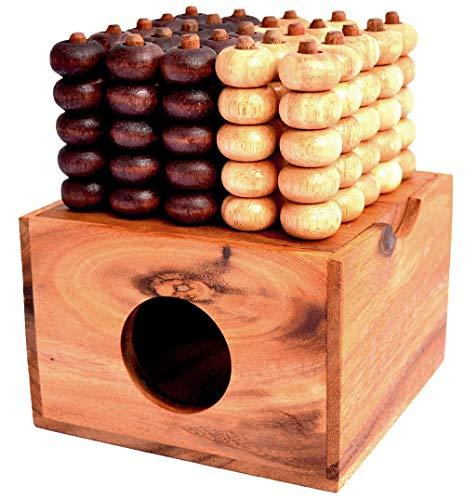 Raummühle 3D 5x5 Vier in Einer Reihe Box Connect Four Knobelholz Strategiespiel für 2 Spieler Vier in Einer Reihe Gewinnt, Bingo 3D, Viererreihe