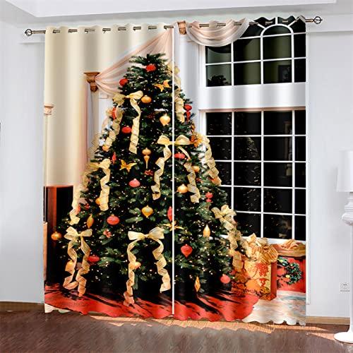 HOMEIEU Cortinas De Navidad, Cortinas Opacas, Impresiones De Árboles De Navidad, Adecuado para Sala De Estar, Dormitorio, Balcón De La Habitación De Los Niños (W132xH214cm-2PCS)