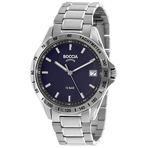Boccia Herren Analog Quarz Uhr mit Titan Armband 3597-01