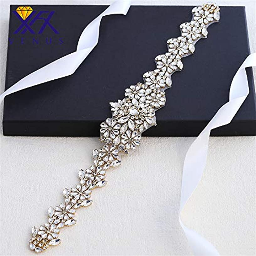 XINFANGXIU Gold Wedding Rhinestone Belt Dress Applique Bridal Crystal Sash Glorious Sewn Iron on for Gown Prom Party Women Clothes