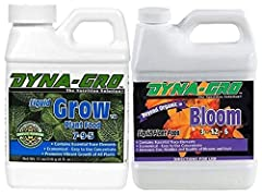 Dyna-Gro liquid grow 8 oz. for robust vegetative growth Dyna-Gro liquid bloom 8 Oz for the flowering stage of your plants Contains all the Macro Nutrients and Micro Nutrients essential for plant growth