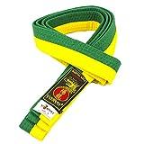Yoryu - Cinturón de artes marciales para karate y judo, 100% algodón, bicolor, Giallo-Verde, M-260CM