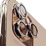 エアリア iPhone11Pro 11ProMax用 3眼カメラレンズプロテクター 背面カメラを守る かんたん取付け スタイリッシュな仕上がり アルミリングリムとコーニング社9Hガラスを採用 (ゴールド)