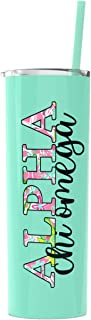 Alpha Chi Omega sorority Stainless Steel Tumbler with Straw Cute Sister gift Vinyl decal Insulated Mint