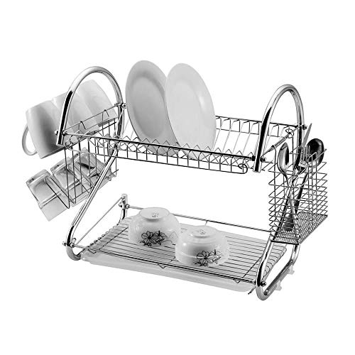 US Fast Shipment S-shaped Dual Layers Dish Drying Rack Kitchen Collection Shelf Drainer Organizer Ideal for kitchen,Bathroom【US in Stock】 (Silver)