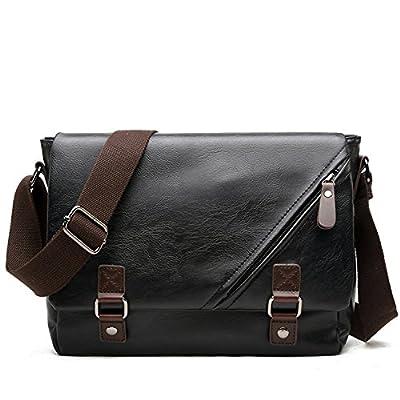 Foino Sac Porté épaule Sac bandoulière Homme Sac Besace Cuir Sacoche de Cours Sac Voyage Vintage Mallette Laptop pour Sport Bag