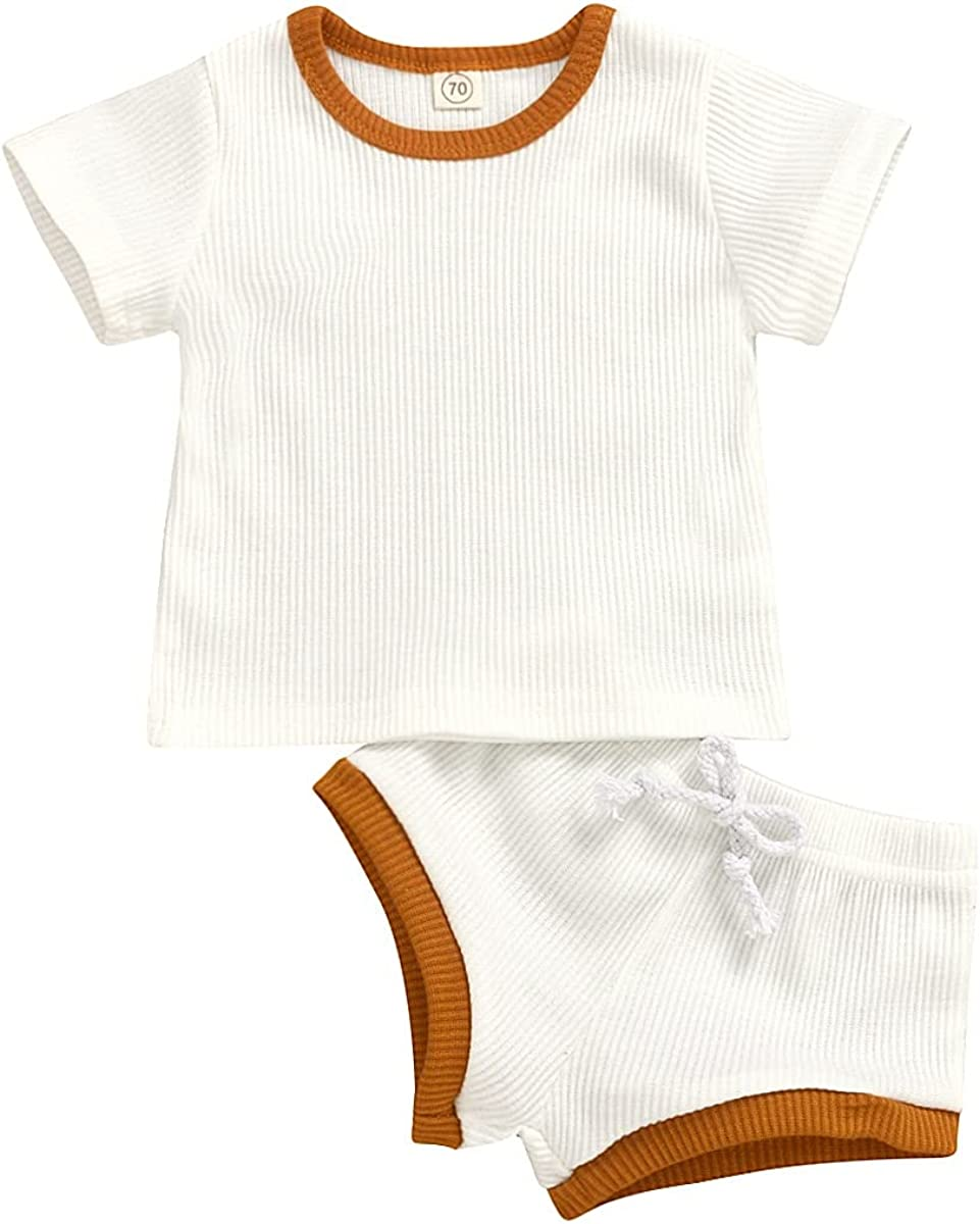 Newborn Baby Girl Boy Clothes Short Sleeve Solid Color T-Shirt Shorts Set 2Pcs