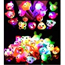 24 Pack LED Light Up Bumpy Rings Party Favors For Kids Prizes Box Toys For Birthday Classroom Rewards Treasure Box Prizes Toys Glow Party Supplies