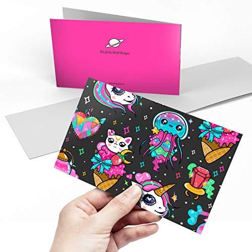 Greeting Card (A5) - Kawaii Anime Animals Japanese Blank Greetings Card Birthday Kids Party Boys Girls