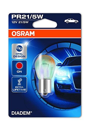 Osram 7538LDRBLI1 Lampe 'Diadem', 12V, 21/5W, PR21/5W, BAW15d, rouge, en blister simple