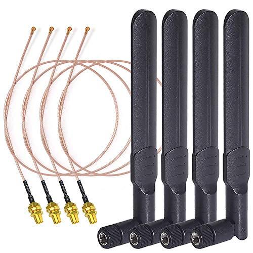 SUUER Doble Banda WiFi 2.4Ghz 5Ghz 5.8Ghz 8Dbi Rp-SMA Antena Macho 20Cm 8 Pulgadas Rg178 U.FL Ipx Ipex una Rp-SMA Cable Hembra Paquete de 4