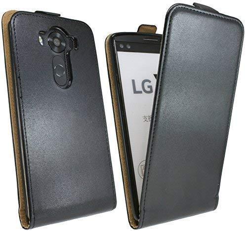 ENERGMiX Handytasche Flip Style kompatibel mit LG V10 (H961N) in Schwarz Klapptasche Hülle