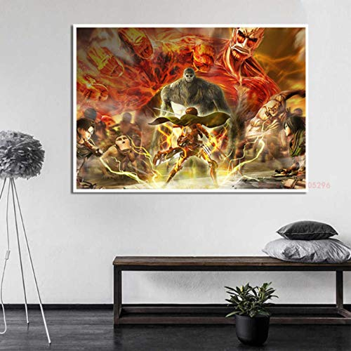 shuimanjinshan Attack on Titan Poster Japanese Anime Prints Clear Lmage Room Bar Home Painting Canvas Art Decor 40x50cm No Frame P-317