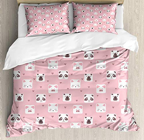 Scott397House Cartoon Double Bedding Duvet Cover 3 Piece, Cat and Bear Faces with Mini Hearts, Soft Bedding Protects Comforter with 1 Comforter Cover And 2 Pillow Case, Pale Pink Umber