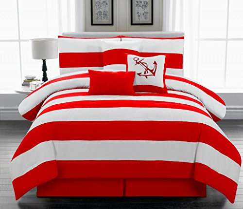 Legacy Decor 7pc. Microfiber Nautical Themed Comforter Set, Red and White Striped King Size
