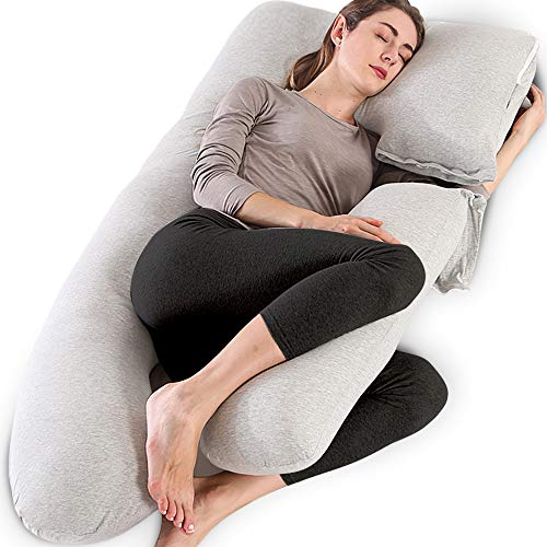 Chilling Home Pregnancy Pillow, 55 inches Full Body Pillow Maternity Pillow for Pregnant Women, Comfort 2 in 1 U Shaped Zootzi Pillow with Removable Washable Jersey Cover(Grey, 55 x 28 inches)