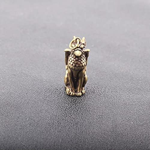 Me Plus Drawihi Soild Copper Mythical Animals Bird Head Wings Beast Body Pendants Brass Ornaments Key Chain Hanging Trinket Small Bronze Statue