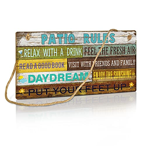 Putuo Decor Patio Wall Decor, Patio Rules Sign for Home, Bar, Pub, Porch, Outdoor Living, 10x5 Inches Hanging Plaque Sign