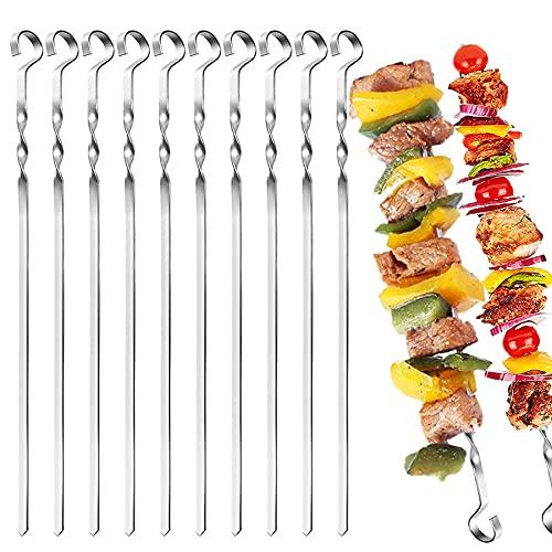 Shengruili 12 Stück Grillspieße Edelstahl,40cm Schaschlikspieße,wiederverwendbar Metallspieße,BBQ Grillspieße,Spieße zum Grillen