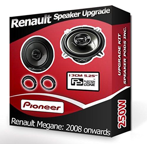 Porte avant pour Renault Megane III Haut-parleurs Pioneer Haut-parleurs de voiture + adaptateur gousses 210 W