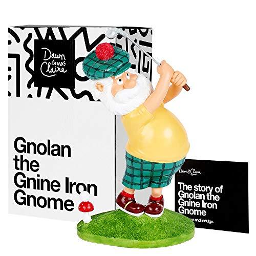 Dawn & Claire Gnolan The Gnine Iron Gnome | Golfer Statue for Garden, Lawn, Yard, Book Shelf, Golf Desk Decoration, Unique Novelty Golfing Gift Idea