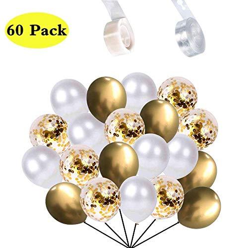 """60 Stück Luftballons 1 Rollen Ballon Klebepunkte und 1 Rollen Ballongirlande Lochband set, 12"""" Gold Weiß Ballons mit Gold Konfetti Latex Luftballon für Geburtstag Halloween Weihnachten Party Deko"""