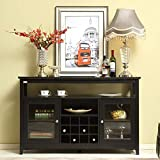 Mixcept 52' Concise Wooden Sideboard Wine Cabinet Buffet Table Tall Console Dining Server Storage Cabinet Open Shelf with Wine Rack, Black