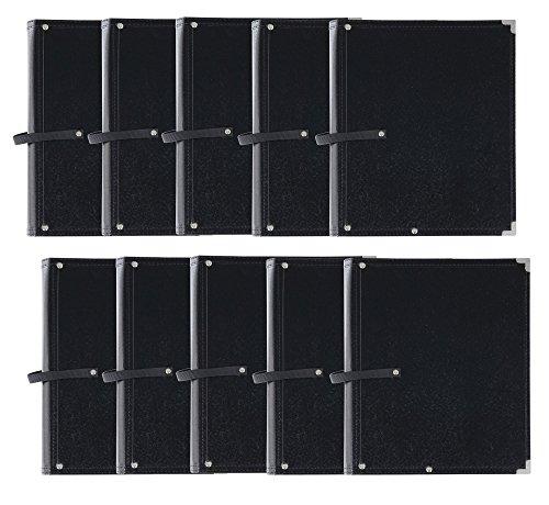 10x Classic Cantabile Notenmappe Standard Schwarz Set (stabiles Kunstleder, Handschlaufe, Noten bis DIN A4, Innentasche, Schutzecken)