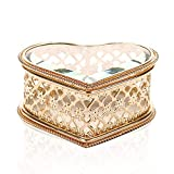 X-nego Handmade Art Glass Jewelry Box Heart Shape Keepsake Box Jewelry Display...