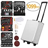 Yaheetech Tool Box Trolley Mechanic Home/Household Toolbox Kit Set Case Cart with 1099 Pcs Hand Tools on Casters Wheels for DIY Projects and Daily Repair and Workshop/Garage