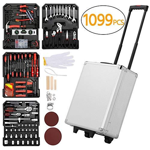 Yaheetech Sturdy 1099pcs Tool Box with Tools and Wheels Aluminium...