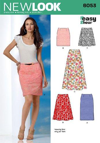 New Look 6053 - Cartamodello da Donna (UK 8/10/12/14/16/18, EU 40-50), per Realizzare Una Gonna in 2 Ore, Multicolore