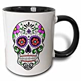 3dRose Sugar Skull Pink Two Tone Mug, 11 oz, Black