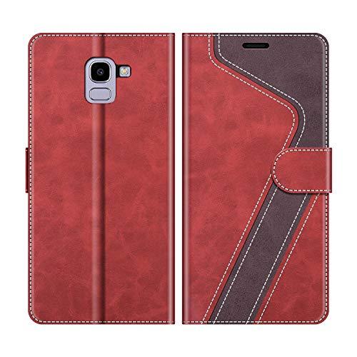 MOBESV Handyhülle für Samsung Galaxy J6 2018 Hülle Leder, Samsung Galaxy J6 2018 Klapphülle Handytasche Case für Samsung Galaxy J6 2018 Handy Hüllen, Modisch Rot