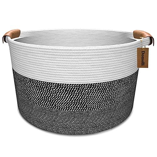 Domolli Cotton Rope Basket 22' x 22' x 14', XXXL Large Laundry Basket with Handles, Woven Blanket Basket, Baby Hamper Nursery Bin, Clothes&Blanket&Toys Storage Basket For Living Room, Bedroom,Bathroom