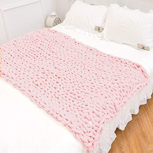 Mauuwy Chunky Knit Blanket Chenille Throw Max 79% OFF New product type Thick B Handmade