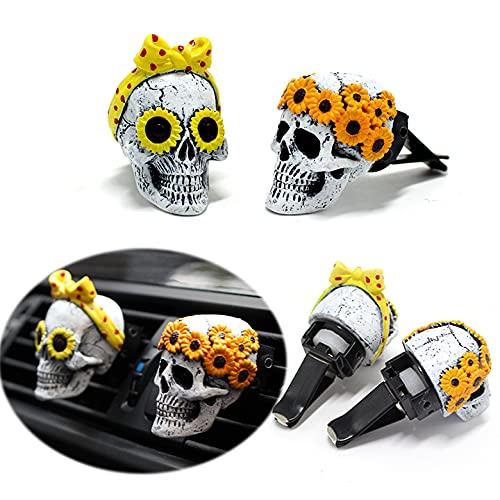 Selotrot 2 clips de ventilación de coche con forma de cráneo de resina para vacaciones, ambientador de coche con tableta de aromaterapia, 12,5 x 10,5 x 6 cm