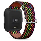 Compatible with Fitbit Versa/Versa 2 / Versa LITE - Leather Watch Wrist Band Strap Bracelet with Quick-Release Pins (Bright Rainbow Colored Hearts On)