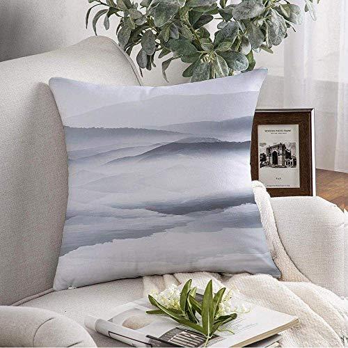 Blanco Cielo Cielo Diseño Montaña Nube Pino Pintura Tinta Azul Tinta Azul Naturaleza Asia Bosque Zen Dibujo Tranquilo Funda De Almohada Cama,Sofá Decorativo,Funda De Almohada Cuadrada