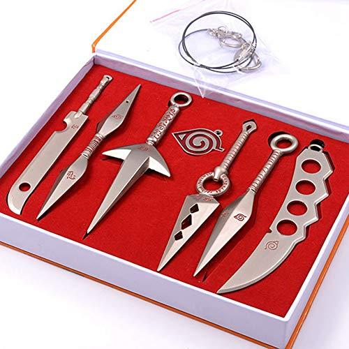 SGOT Anime Naruto Keychains Set, 7 Stück Schlüsselanhänger, Geschenk für Fans, Metall Keyring(Weiß)