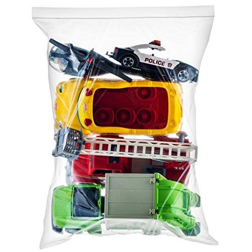 [ 100 Count ] Extra Large Super Big Bags, Zip & Lock Jumbo Big Plastic Bags, 18'x24' Clear 5 Gallon Bags, 100 Count