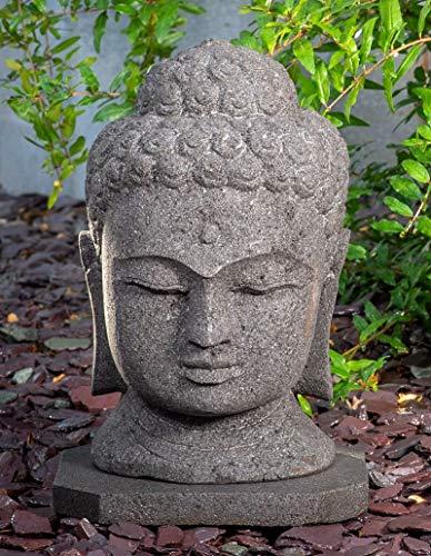 IDYL Lavastein Stein-Figur Buddhakopf| Frostfest | Höhe 40 cm | Asiatische Garten-Dekoration | massives Naturprodukt | Echtstein Lava |schwarz