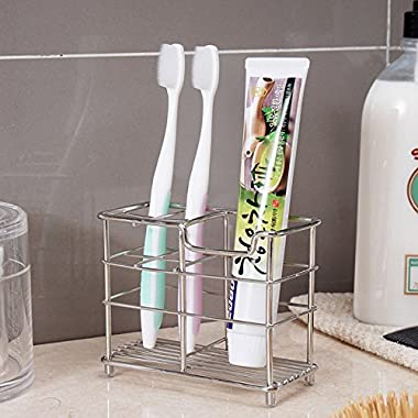 K-Steel Stainless Steel Bathroom Toothbrush Holder Stand Toothpaste Holder  Sturdy Storage Holder