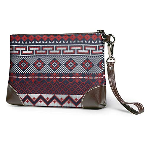GLGFashion Sac à main en cuir pour femme Knitted Fair Isle Style In Three Colors Portable Travel Toiletry Bag Makeup Organizer Cosmetic Bag Pouch For Women Girl