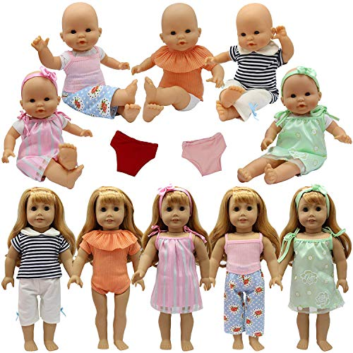 ZITA ELEMENT Bebé Alive Muñeca Ropa y Accesorios Ropa Interior y Venda para Muñecas de 14-16 Pulgadas 18 Pulgadas (35-46cm) American 18inch Girl Doll (5 Ropa 4 Accesorios)