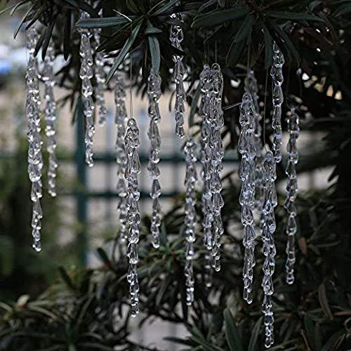 DAHI Christbaumschmuck 50 Stücke eiszapfen Anhänger - Acryl eiszapfen deko weihnachtenbaum Anhänger (eiszapfen 50pcs)