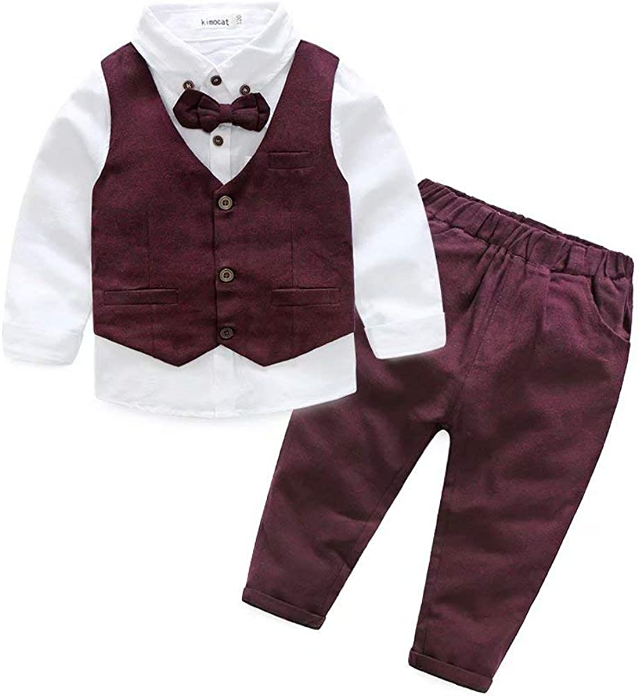Hemopos Baby Boys Formal Suits, Long Sleeve Color Shirt+ Vest+ Long Pants Baby Gentleman Outfit