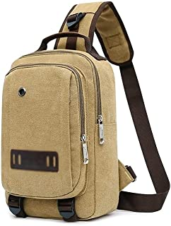 Fyuanmeiibb Backpack, Messenger Bag Canvas Men Chest Bag Teen Crossbody Shoulder Bag Men's Sling Bags Handbag Male Nonchal...