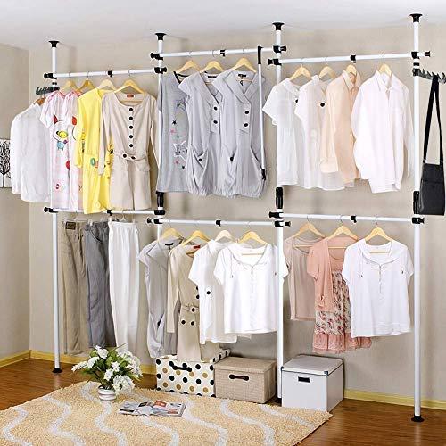 Greensen Teleskopstange Garderobe Regalsystem Kleiderschrank, Garderobensystem Offener Kleiderstangen Kleiderständer, DIY Garderobenständer mit 6 Stangen Verstellbare Kleideraufbewahrungssystem