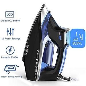 Dcenta LCD Plancha de Vapor,11 Cambios de Temperatura Plancha Vertical Vapor,Depósito de Agua Grande de 350ML Plancha Vertical,Planchado en Seco y Húmedo 4 Modos,2200W de Calentamiento Rápido